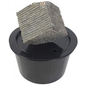 Kubus waterornament natuursteen LED 25 cm doorsnede